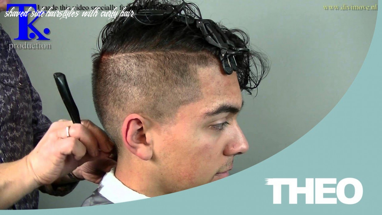 Man's haircut, sides shaved curly hairstyle on Pravir by T K