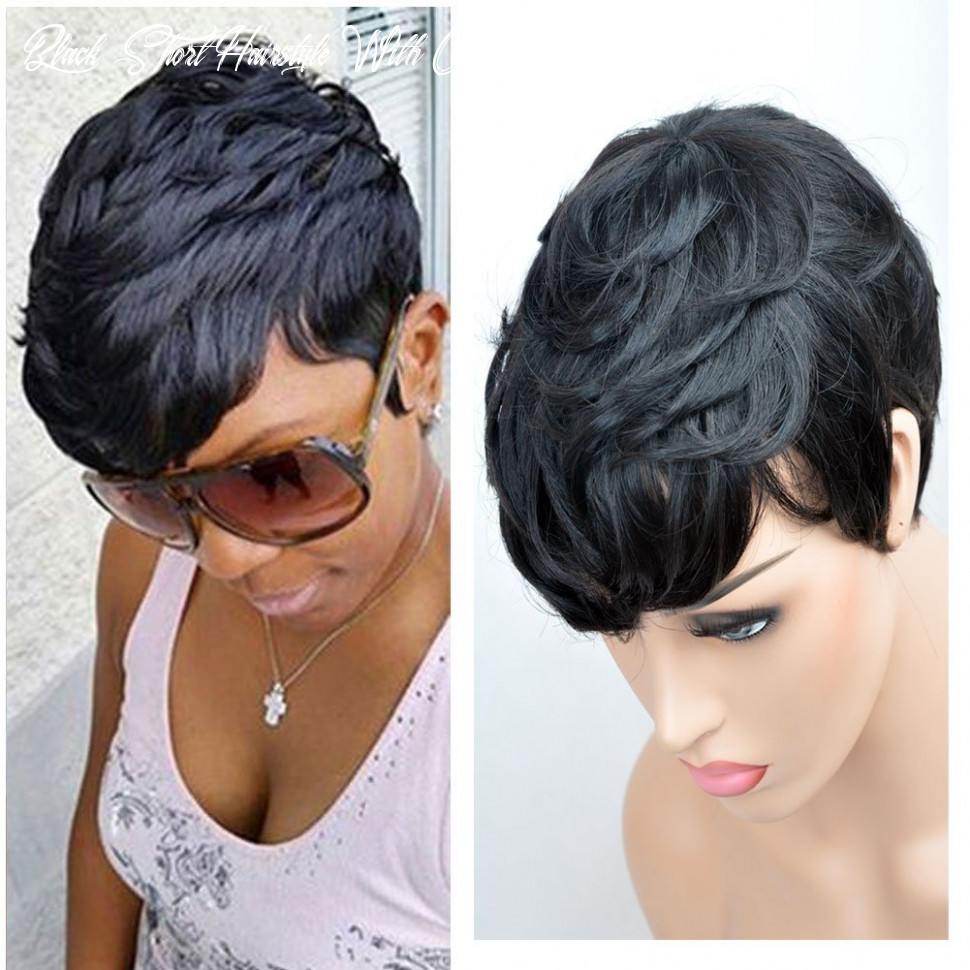 VCK Short Layered Wavy Human Hair Black Cute Natural Curly Wigs for Black  Women 9B Color